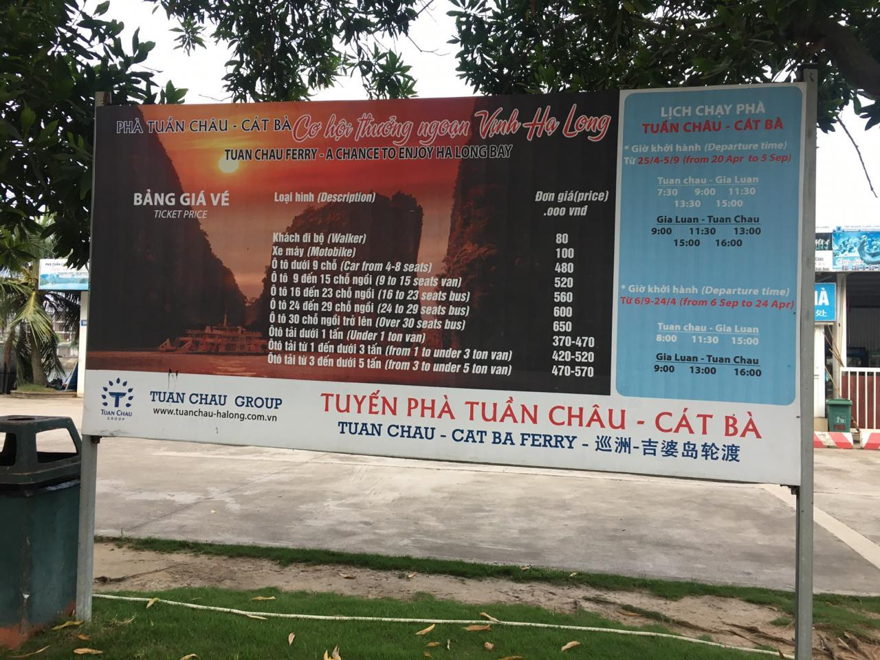 cat ba ferry timing, halong bay from cat ba island schedule