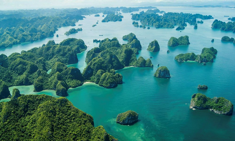halong bay from seaplane