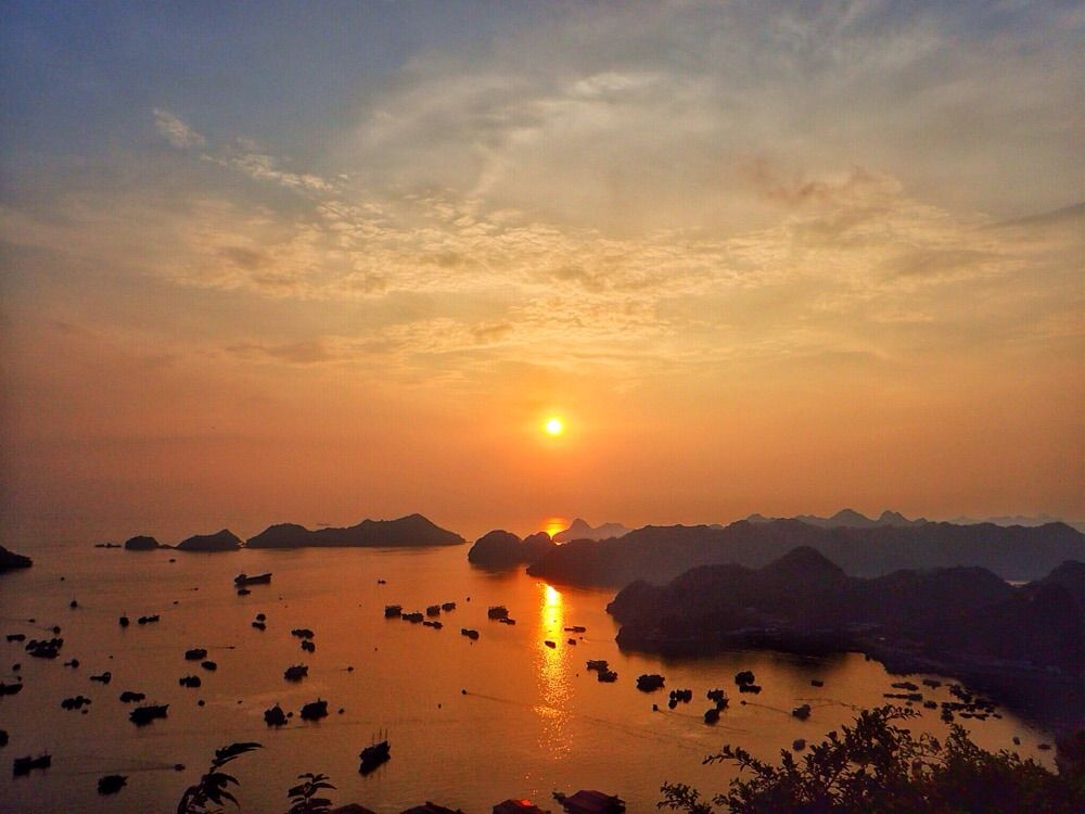 sunset in canon fort cat ba island, vietnam