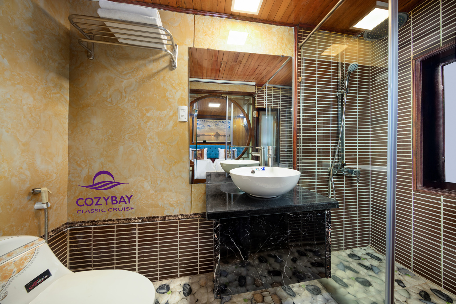 cozybay classic cruise Bathroom Halong bay overnight Cruise