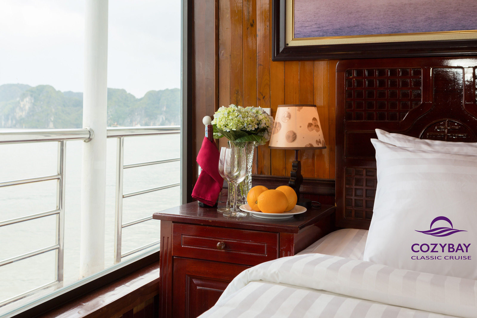 cozy bay classic cruise cabin , halong bay overnight cruise, halong tours