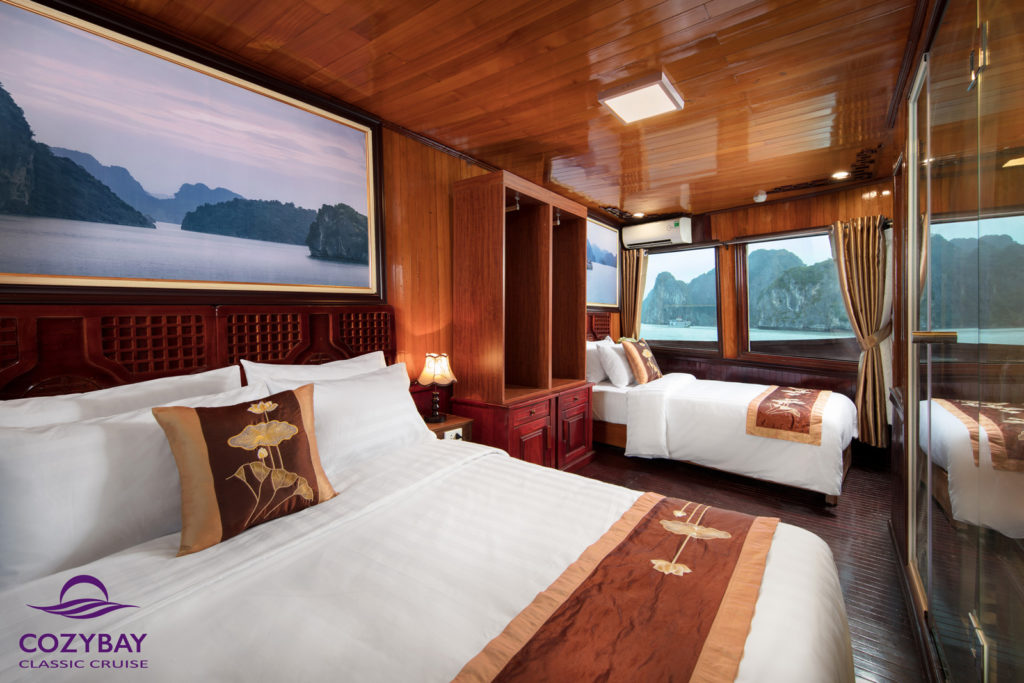 cozy bay classic cruise, deluxe triple cabin, halong bay cruise booking