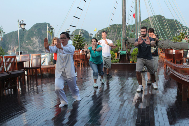 tai chi lession in halong bay vietnam