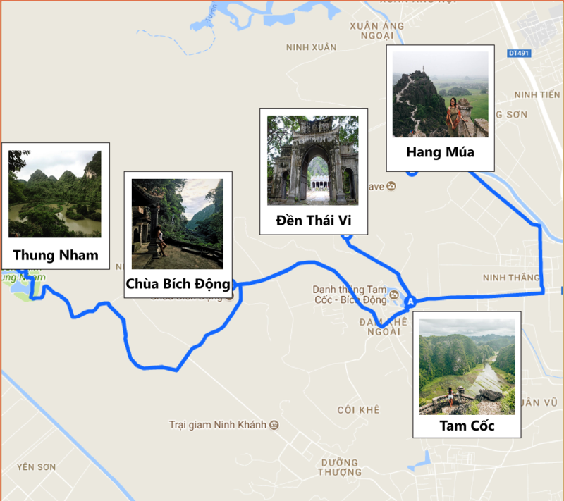 Mua Caves Map - How to get to Mua caves from Tam Coc