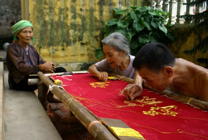 Traditional embroidery craft at Van Lan village
